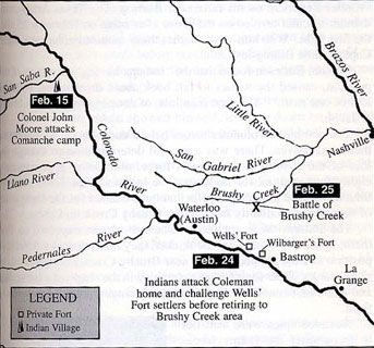 Map of February 1839 Battle Areas of Colonel Moore's Comanche Raid and the Battle of Brushy Creek