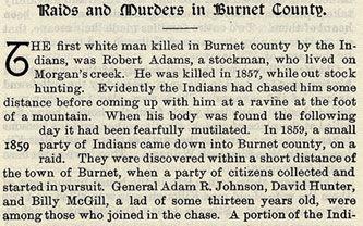 Raids and Murders in Burnet County
