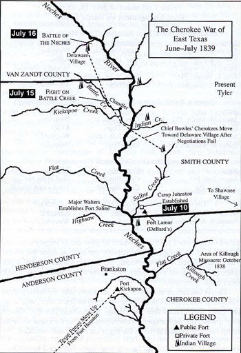 Map of the Cherokee War of East Texas June - July 1839