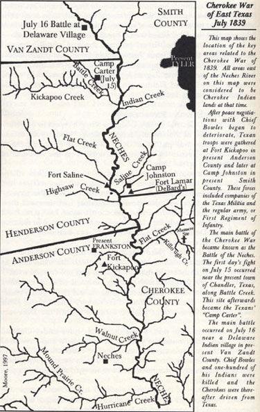 Cherokee War of East Texas July 1839 Map