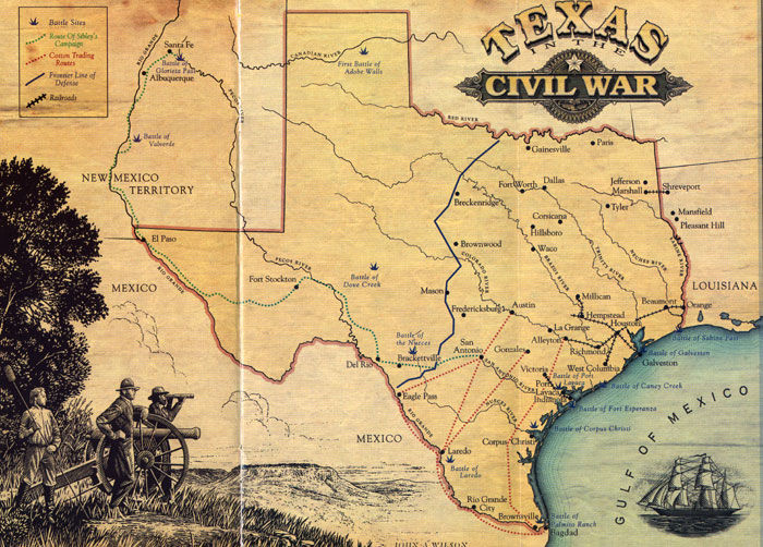 Map of Texas in the Civil War