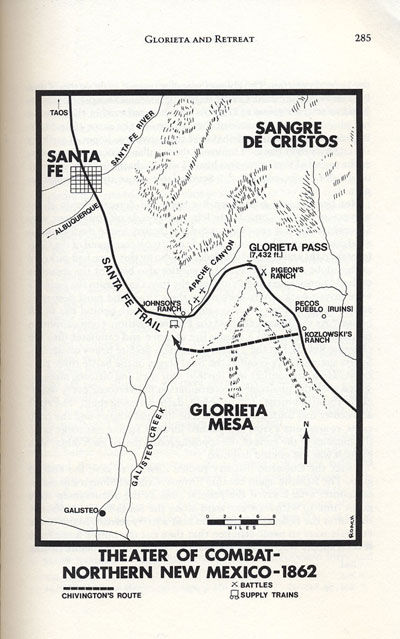 Map of Battle of Glorieta from the book, Confederate General, by Jerry Thompson