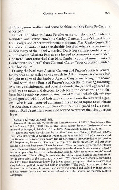 Battle of Glorieta from the book, Confederate General, by Jerry Thompson
