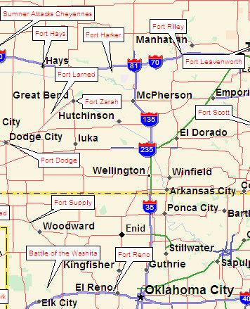 Map of Eastern Santa Fe Trail Forts