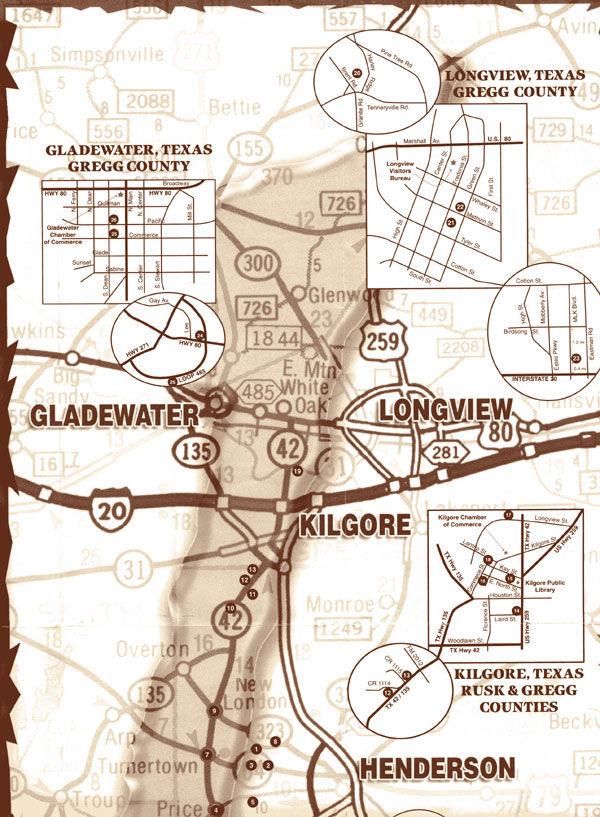 Map of Gladewater, Henderson, Rusk, Kilgore, Longview