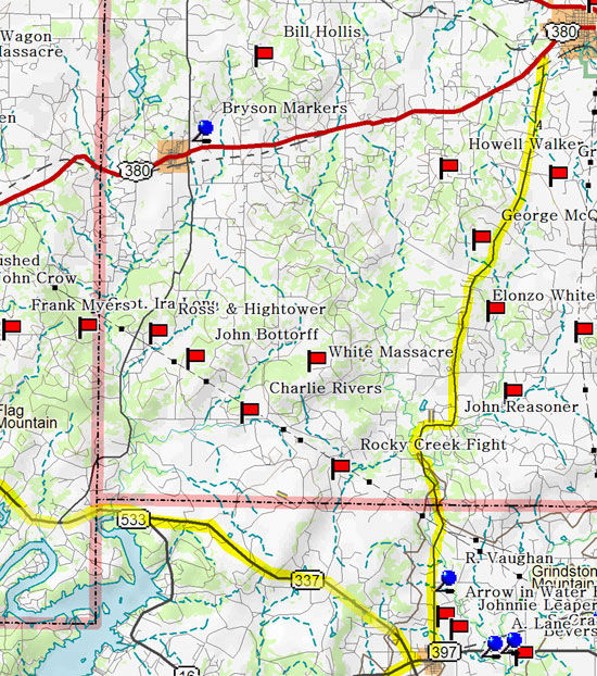 Map of West Keechi Valley/Jacksboro to Graford