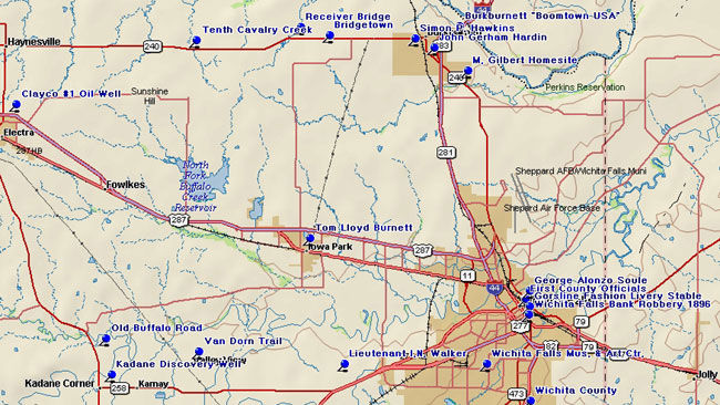 Map of Wichita County Historical Markers