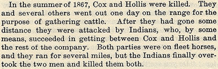 Cox and Hollis story by Wilbarger