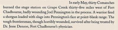 May 1861 Joel Pennington Wounded at Fight at Grape Creek
