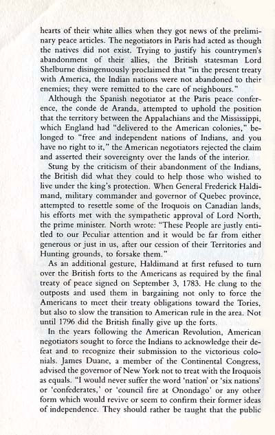 Indian Situation at the end of the Revolutionary War