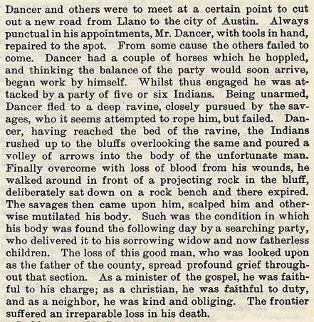 Jonas Dancer story by Wilbarger
