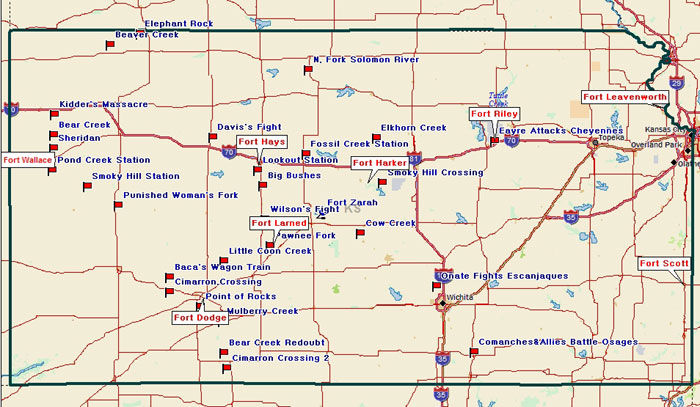 Map of Kansas Historical Points of Interest