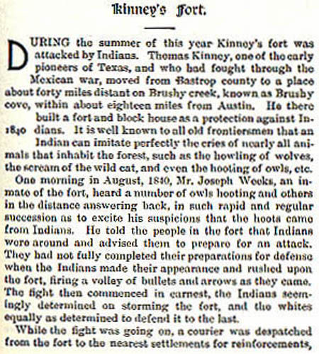 Kinney's Fort story by Wilbarger