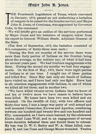 Major John B. Jones story from the book Indian Depredations in Texas by J. W. Wilbarger