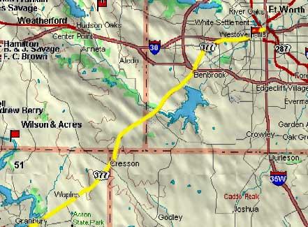 Granbury to Fort Worth Map