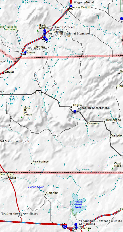 Southcentral Part of Northeastern New Mexico Map