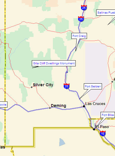 Southwestern New Mexico Map