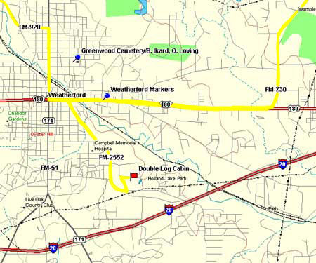 Map to Double Log Cabin and Greenwood Cemetery in Parker County