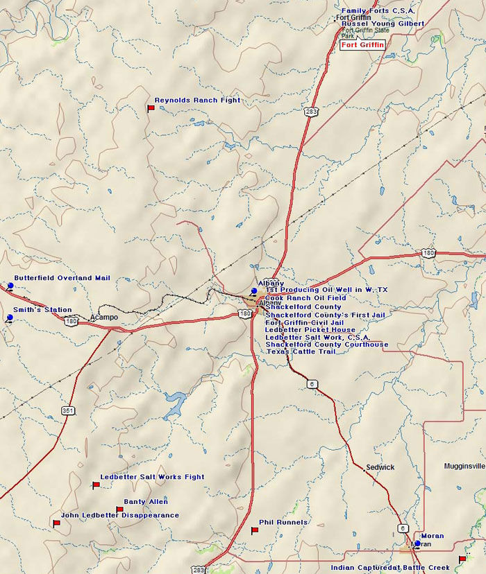 Map of Shackelford County Historic Sites