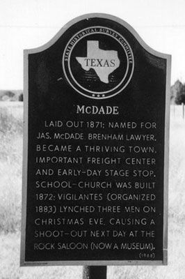 Picture of McDade Historical Marker