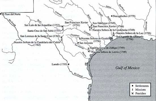Map of Expansion of Spanish Missions, Settlements, an dPresidios, 1746-1779