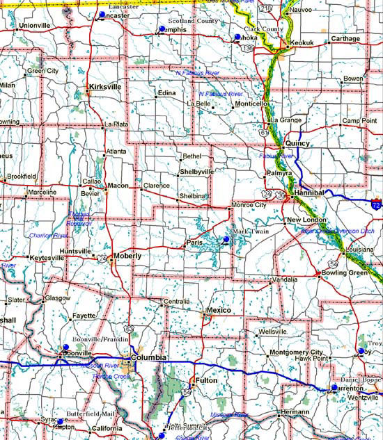 Map of Northeast Missouri Historical Markers