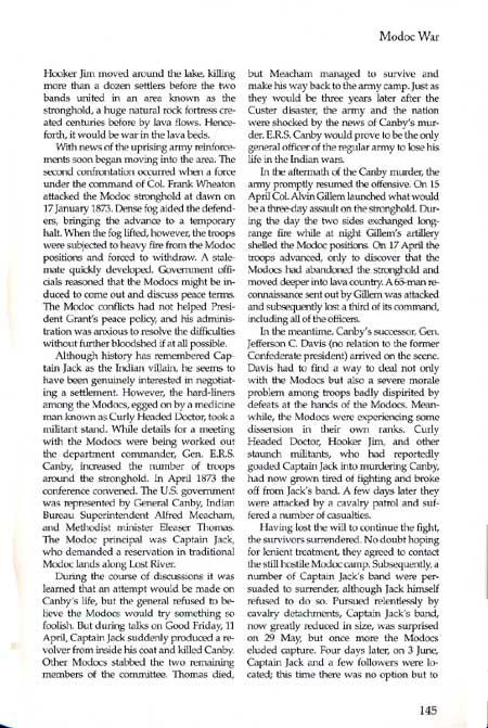 Modoc War Story by Jerry Keenan from his book, Encyclopedia of American Indian Wars