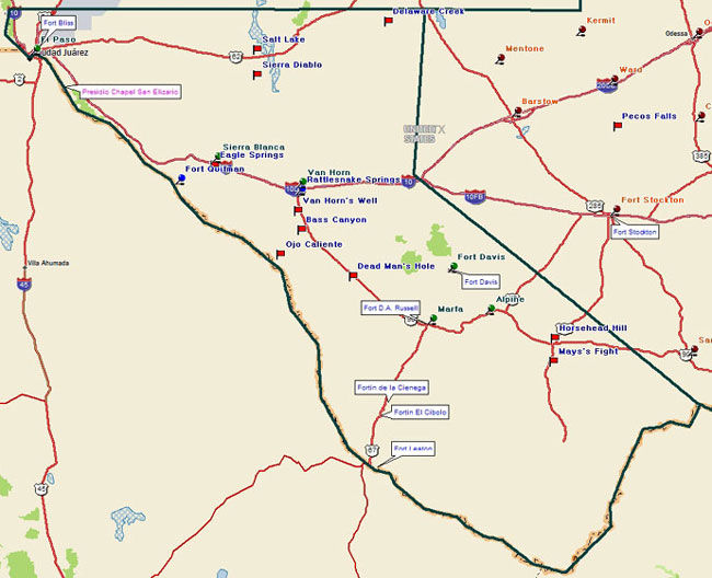 Map of the Texas Mountain Trail Region