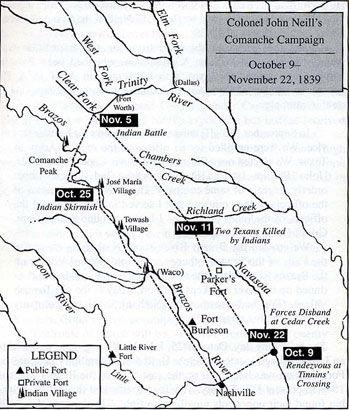 Map of Colonel John Neill's Comanche Campaign