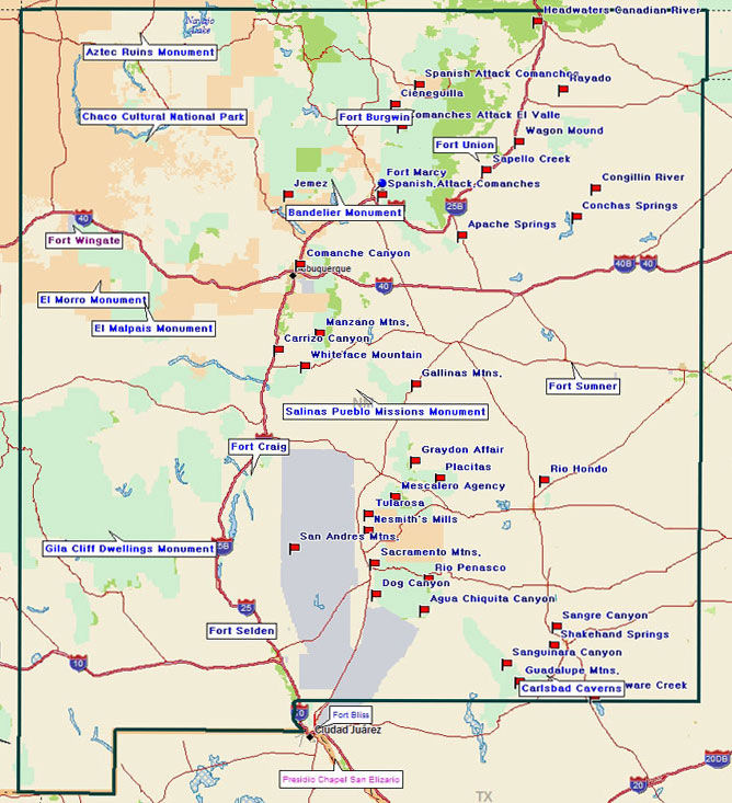 Map of New Mexico Points of Interest