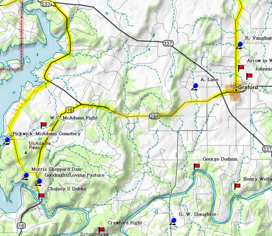 Map of Possum Kingdom Road Trip