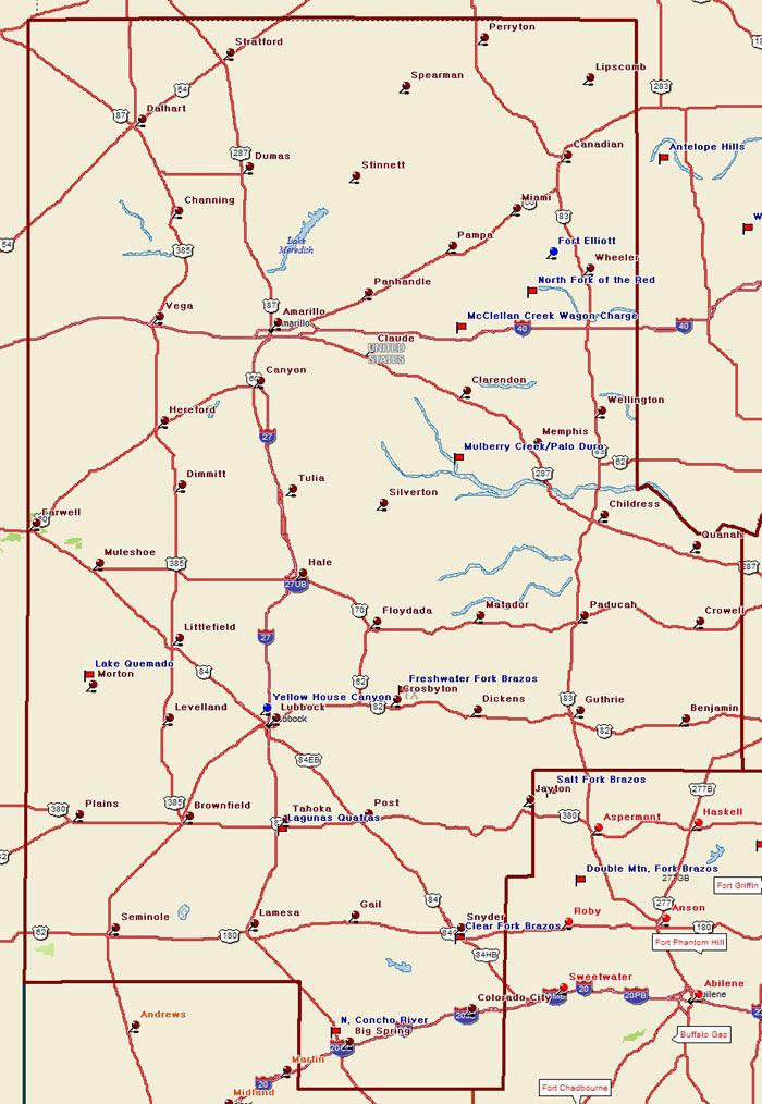 Map of the Texas Plains Trail Region