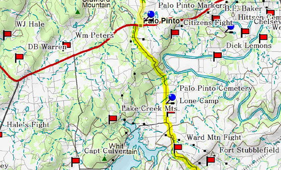 Map of Palo Pinto County