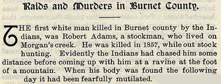 Robert Adams story by Wilbarger