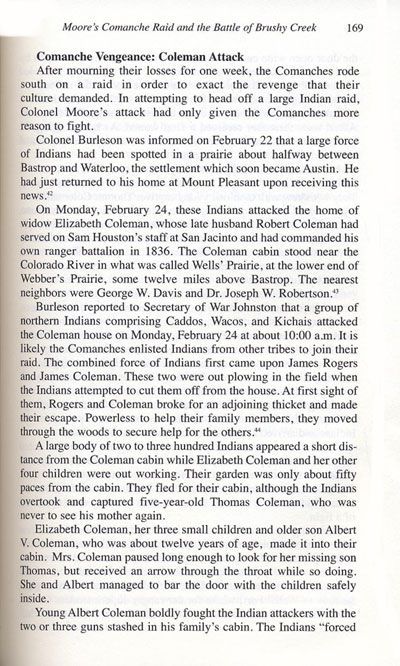 Coleman's Suffer Indian Attack February 24, 1839