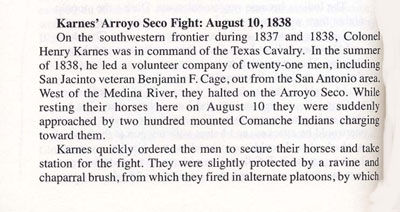 Story of Karnes' Arroyo Seco Fight: August 10, 1838