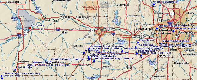 Map of Eastern Santa Fe Trail