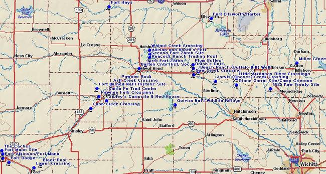 Map of Western Santa Fe Trail