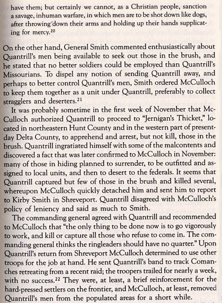 In August, 1863, Generals Henry McCulloch and Edmund Kirby Smith Utilize Quantrill's Raiders