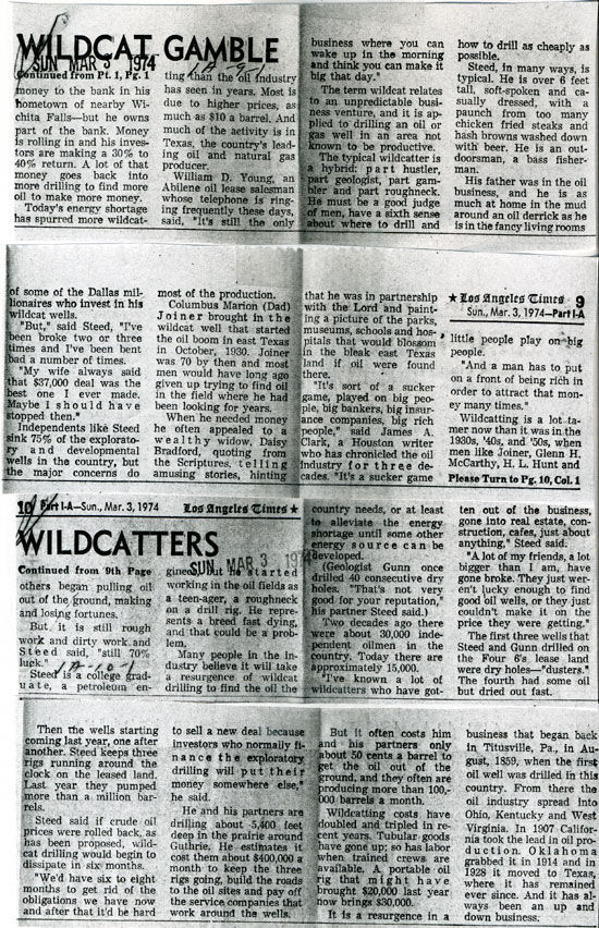 Newspaper Articles on Wildcatters