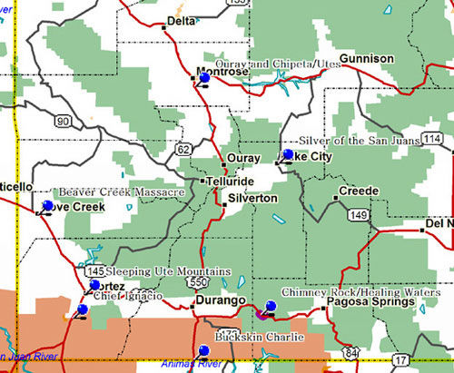Map of Southwest Colorado Historical Markers
