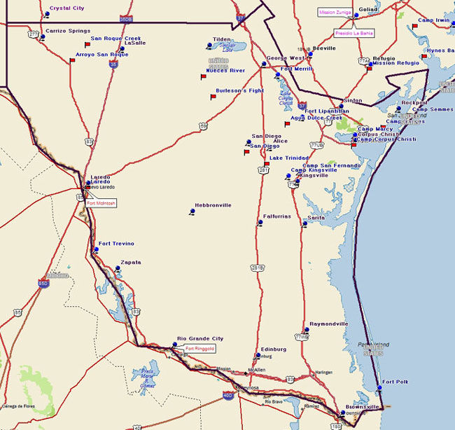 Map of the Texas Tropical Trail Region