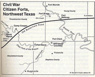 Civil War Citizen Forts, Northwest Texas Map