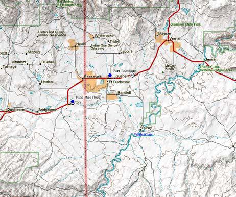 Map of Eastern Utah Historical Markers