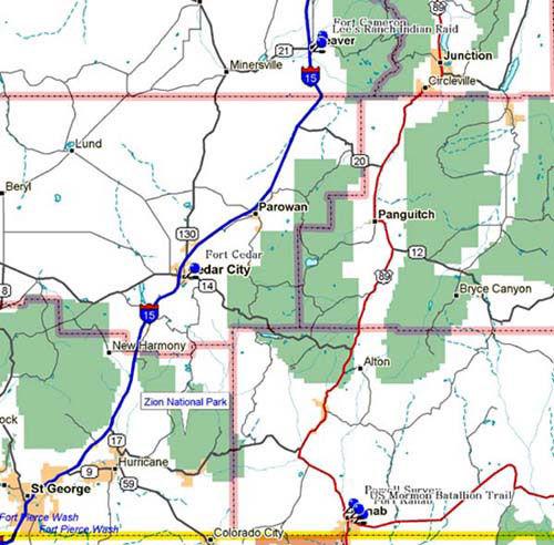 Map of Southwest Utah Historical Markers