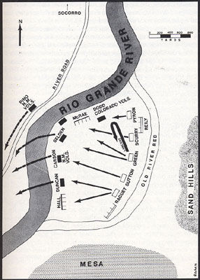 Map of the Battle of Val Verde from the book, Confederate General, by Jerry Thompson