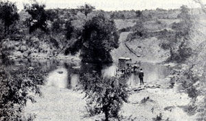 Picture of a Wagon Crossing the Clear Fork River Just Below the Flat