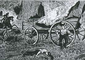 Drawing of Warren Wagon Train Massacre