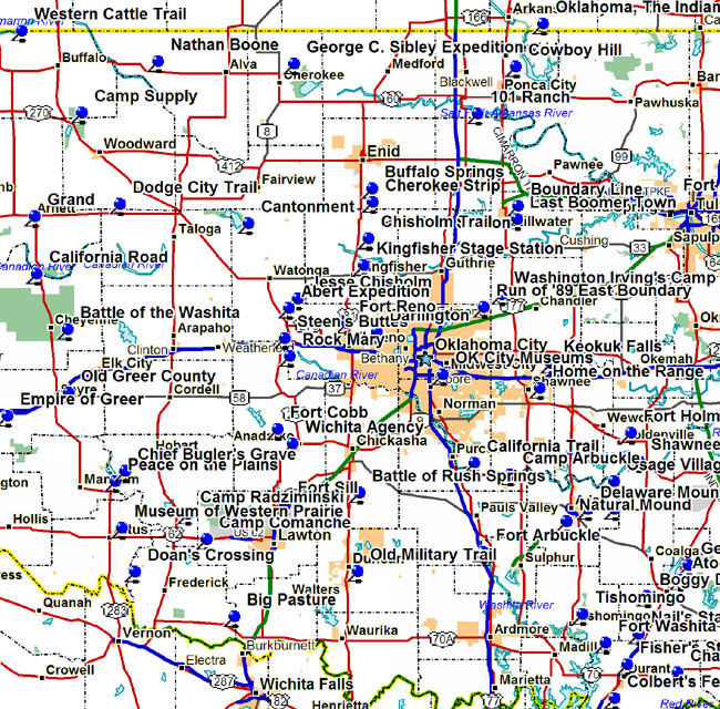 Map of Western Oklahoma Historical Markers and Museums