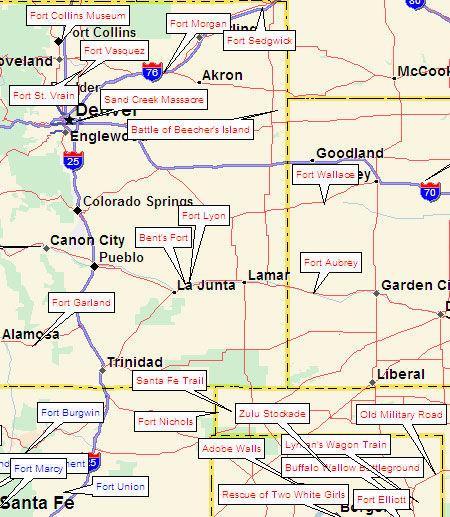 Map of Western Santa Fe Trail Forts